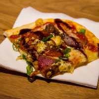 the steak & balsamic flatbread pizza, with amazing toppings and a crust by pillsbury