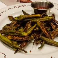 Hand-cut okra tossed in lime juice and sea-salt ($5.00). These may not look like much, but the salty, tangy flavor was excellent.