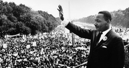 "Martin Luther King Jr. gives his iconic ""I have a dream"" speech."
